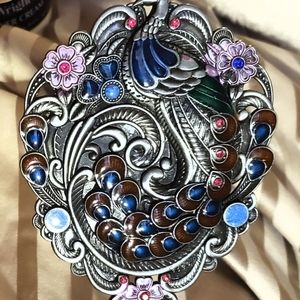 Ornate Peacock Mirror , opens & flips closed